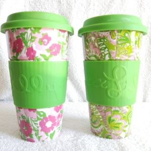 Lilly Pulitzer Kitchen - 2 Lilly Pulitzer Ceramic Tumblers Travel Mugs Cups
